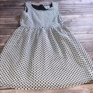 Girls Black and White Patterned Dress